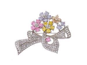 Multi-Gemstone C.Z. Diamond Silver Flower Ribbon Pin/Pendant