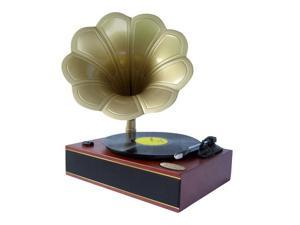 Pyle - Classic Horn Phonograph/Turntable With USB-To-PC Connection And Aux-In (Mahogany)