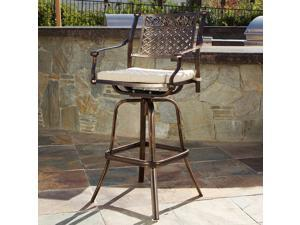 Christopher Knight Home Sebastian Cast Aluminum Barstool with Cushion