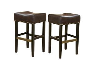Christopher Knight Home Louigi Brown Backless Leather Bar Stool (Set of 2)