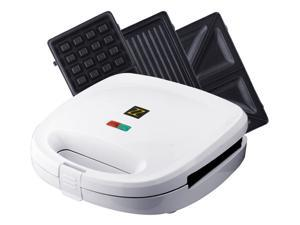 ZZ S6141B 3-in-1 Breakfast Sandwich and Waffle Press with 3 Sets of Detachable Non-Stick Plates - White
