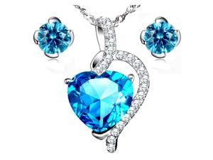 "Mabella Beauty Heart Cut Created Blue Topaz Pendant & Earring Set Sterling Silver, 18"" Chain"
