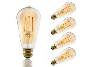 4 PACK 2W ST19 Edison Vintage Style Dimmable LED Filament Light Bulb 2200K Warm White