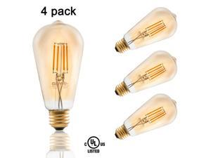 4-Pack 3.5W ST19 Edison Vintage Style Dimmable LED Filament Light Bulb 2200K Warm White