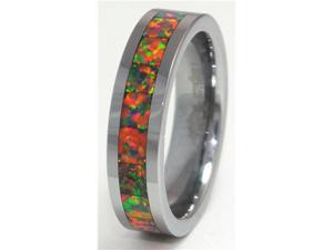 "8mm Precious Opal Tungsten Ring Similiar to ""Mexican Precious Opal"" Red, Orange, Yellow"