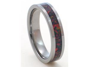 6mm Precious Opal Tungsten Carbide Ring with Red Inlays that flashes with Orange, Red, and Slight Green Fire