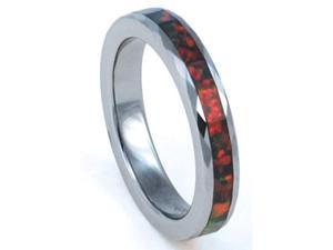 4mm Faceted Precious Opal Tungsten Carbide Ring with Red Inlays that flashes with Orange, Red, and Slight Green Fire