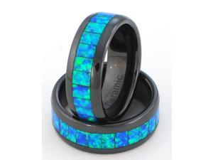 8mm Precious Opal Ceramic Ring with Blue-green Inlays