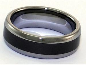 Tungsten Carbide Ring With Seamless Black Ceramic Inlay (Forever Polish)