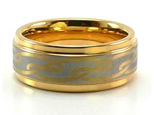 9mm Tungsten Carbide Ring, Electroplated with 18K Gold