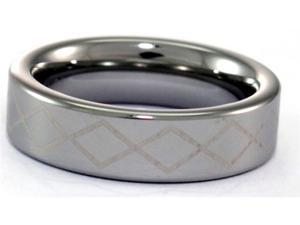6mm Tungsten Carbide Ring With Laser Cut Diamond Pattern