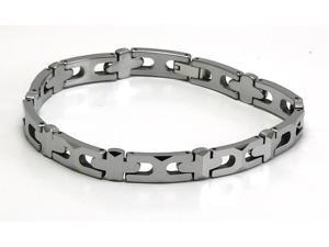 "8"" x 1/4"" Narrow Silver tungsten carbide bracelet with facets"