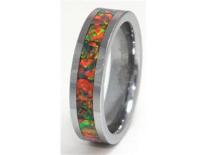 "6mm Precious Opal Tungsten Ring Similiar to ""Mexican Precious Opal"" Red, Orange, Yellow"