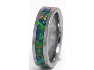 6mm Precious Opal Tungsten Ring with a Brilliant Display Multi Color Fire (Yellow Green)