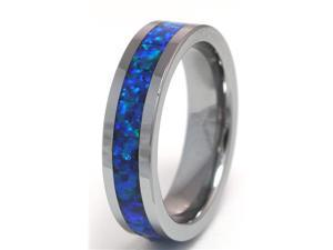 6mm Precious Opal Tungsten Ring with a Brilliant Display Dark Bluer Fire