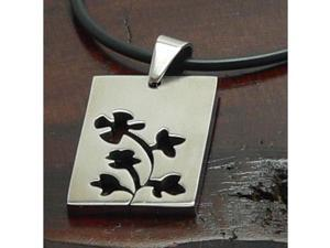 Stainless Steel pendant with Flowers, one side brushed other polished