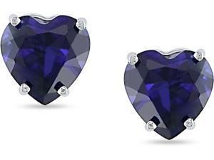 10K White Gold Created Sapphire Heart Studs