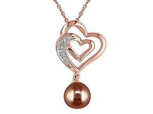 7.5-8mm Brown Pearl and Diamond Accent in 10K Pink Gold Pendant Necklace