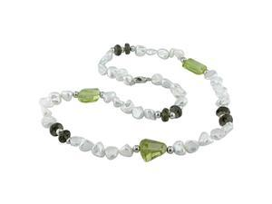 "White Keishi Pearls, 8mm Smokey Quartz Bead &Lemon Quartz Nugget 18"" Necklace"