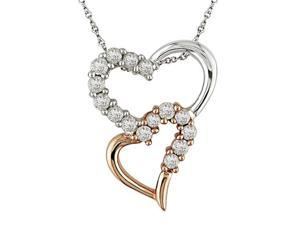 1/2 ct.t.w. Diamond Heart Pendant in 14k White and Pink Gold, I2-I3, GHI