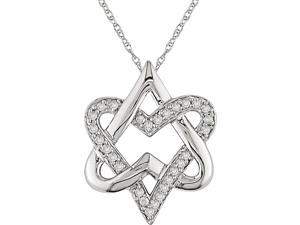 10K White Gold 1/4ct TDW Diamond Heart Pendant