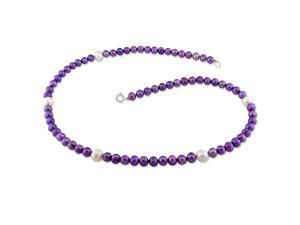5-6 mm FW Purple and 7 mm White Pearl Single Row Necklace, 18""
