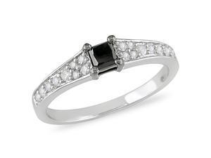 1/2 ct.t.w. Black and White Diamond Ring in 10k White Gold, I2-I3, G-H-I