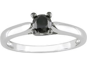 10k White Gold 1/2ct TDW Black Diamond Ring