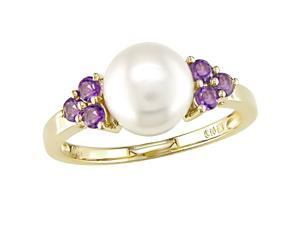 10K Yellow Gold Freshwater Cultured Pearl (8-8.5mm) and Amethyst Ring