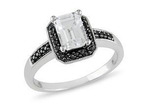 1/8 ct.t.w. Black Diamond and 1-1/3 ct.t.w. White Topaz Ring in 10k White Gold