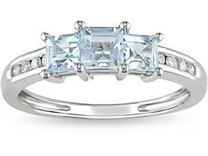 10k Gold Aquamarine and 1/10ct TDW Diamond Ring