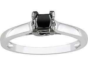 10k White Gold 1/2ct TDW Black Diamond Ring