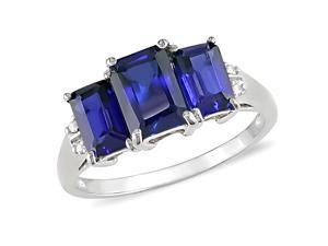 2-3/4 ct.t.w. Sapphire and Diamond Accent Ring in 10k White Gold, I2-I3, G-H-I