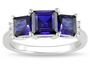 10k  2-1/5ct Sapphire and .04ct TDW Diamond Ring