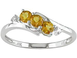 10K White Gold .018 ctw Diamond and Citrine Ring