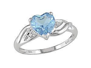 10K White Gold .01 ctw Diamond and Blue Topaz Heart Ring