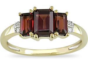 10K Gold Diamond 1-1/2ct TGW Garnet Ring