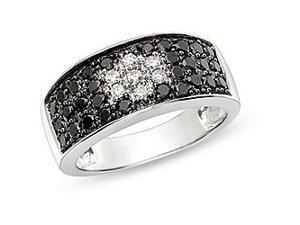 1ct TDW Black and White Diamond ring in 14k White Gold, H-J, I1-I2