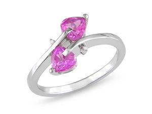 0.007ct Diamond TW & 1ct Created Pink Sapphire TGW Fashion Ring Silver