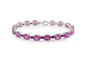 Sterling Silver 27ct TGW Blue Sapphire & Created Pink Sapphire Bracelet, 7.5""