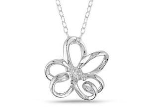 Sterling Silver Diamond Accent Butterfly Pendant w/ Chain