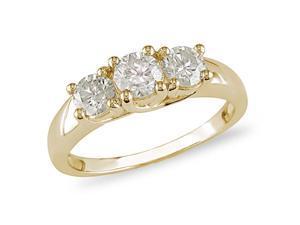 14K Yellow Gold 1 CT TDW Diamond 3 Stone Ring