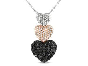1 ct Black and White Diamond Triple Heart Pendant in Sterling Silver