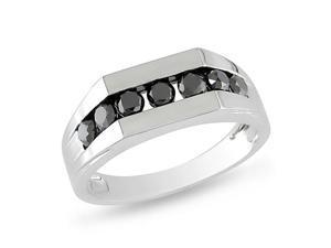 1 cttw. Men's Black Diamond 10k White Gold Ring
