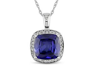 10k Gold Created Sapphire and 1/10ct TDW Diamond Necklace