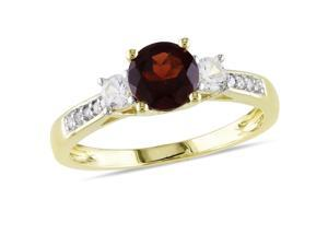 Amour 10k Yellow Gold 1 1/3ct TGW Garnet and Created White Sapphire with 0.05ct TDW Diamond Three Stone Ring (H-I, I2-I3)