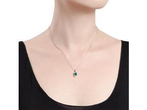 Amour Sterling Silver 7/8 CT TGW Created Emerald and 0.04 CT TDW Diamond Pendant with Chain (H-I, I3) (18 in)