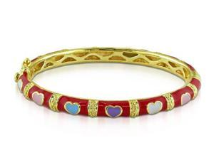 Amour Yellow Silver Multi-color Heart Enamel Baby Bangle Bracelet (5.25in)
