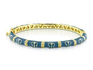 Amour Yellow Silver Turquoise Butterfly Enamel Bangle Bracelet (7in)