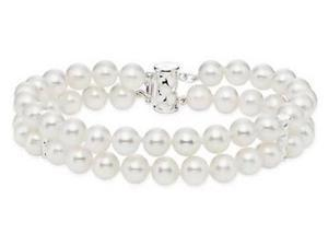 Amour Sterling Silver Freshwater White Pearl Strand Bracelet (6.5-7 mm) (7.5 in)